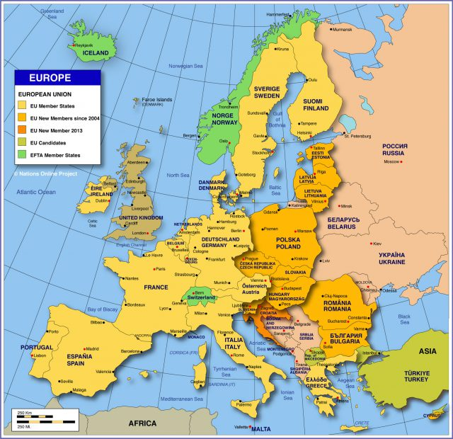 Europe countries map from nationsonline 1