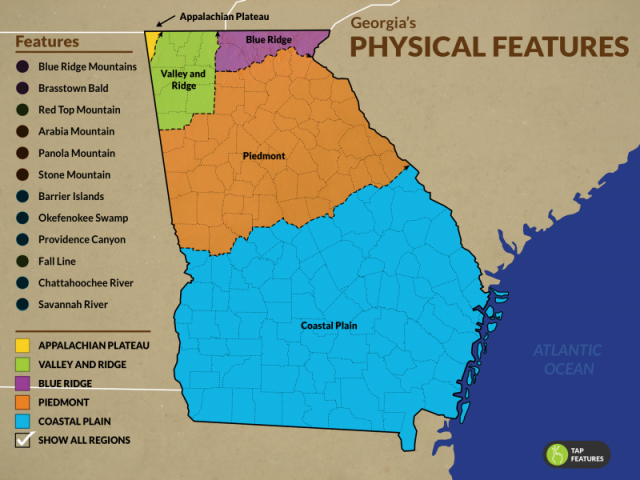 Georgia Physical Features Map