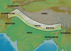 Himalayas on world map from en 4