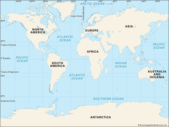 Map of oceans from britannica 1