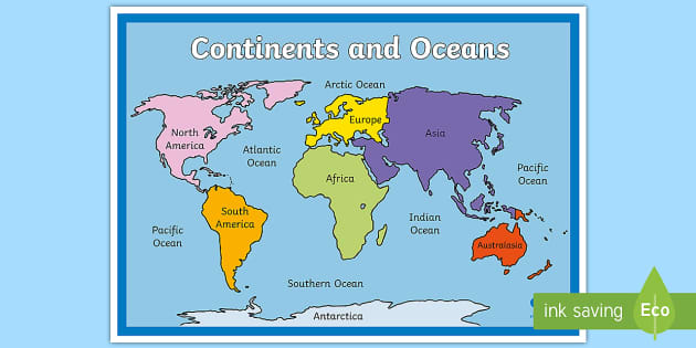 Map Of The World Continents And Oceans