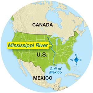 Mississippi river on world map from scienceworld 1