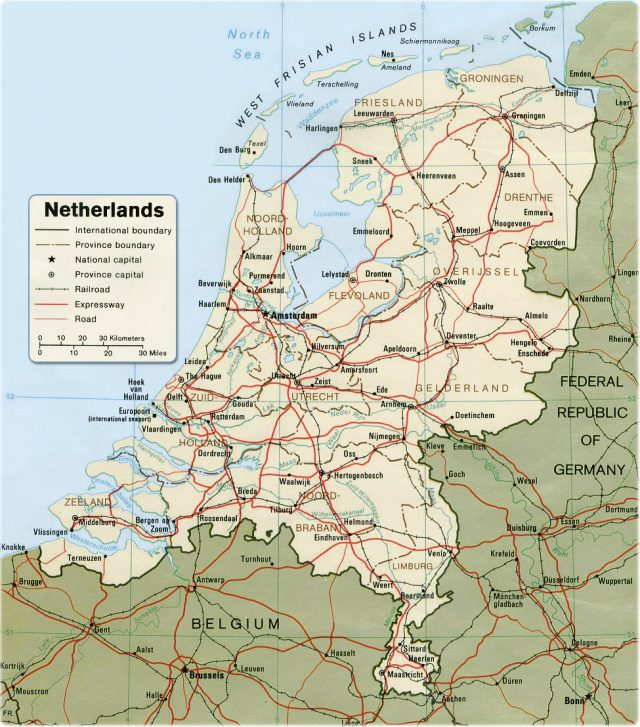 Netherlands europe map from geographicguide 1