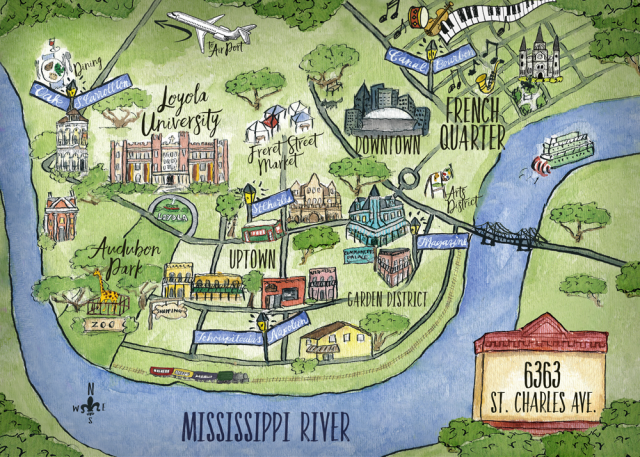 New orleans on map from loyno 1