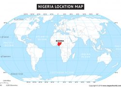 Nigeria on world map from mapssite 4