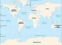 Oceans on map from britannica 3