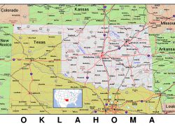 Oklahoma state map from maps of the usa 6