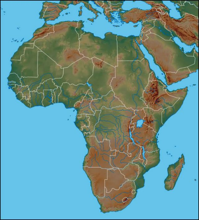 Physical map of africa from geology 1