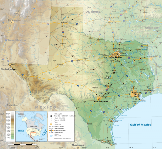 Physical Map Of Texas