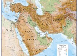 Physical map of the middle east from mapsinternational 2