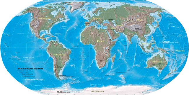 Physical world map from nationsonline 1