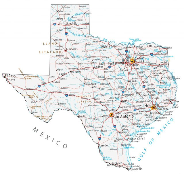 Texas map from gisgeography 1