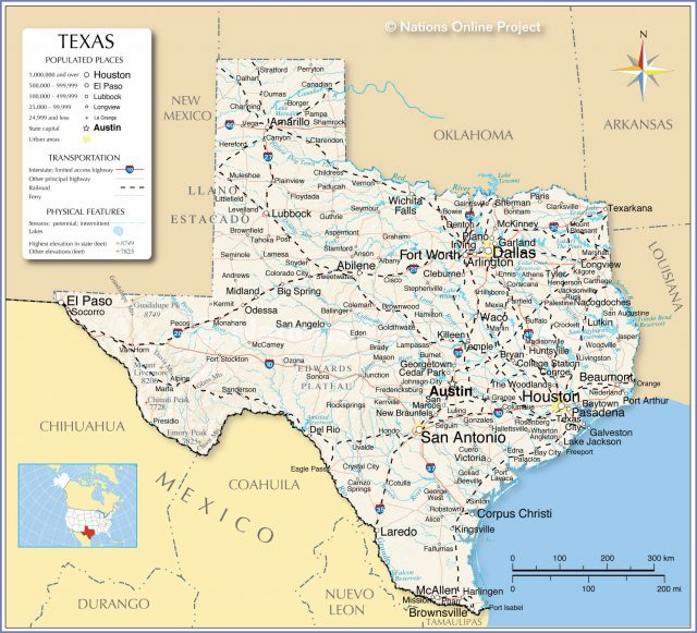 Texas state map from nationsonline 1