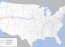Transcontinental Railroad Map: Transcontinental railroad map from en 1