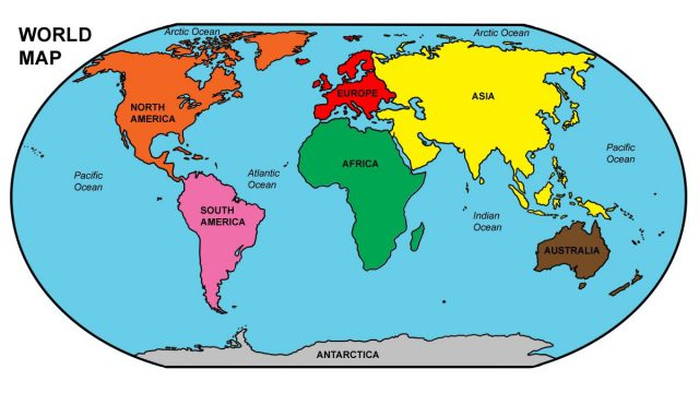 World Map Labeled Oceans