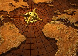 World map with compass from billfrymire 7