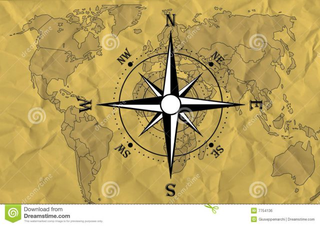 World Map With Compass