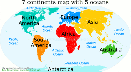 World Map With Continents And Oceans