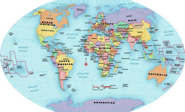 World map with labels from fineartamerica 1