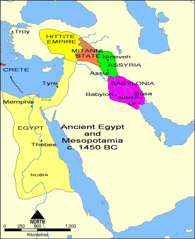 Ancient assyria map from en 1