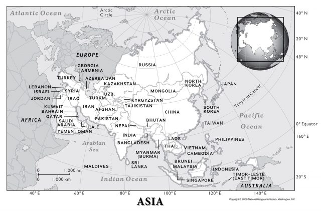Asia Physical Map