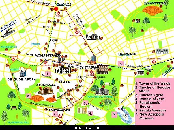 Athens tourist map from pinterest 1