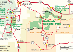 Badlands National Park Map: Badlands national park map from nps 1