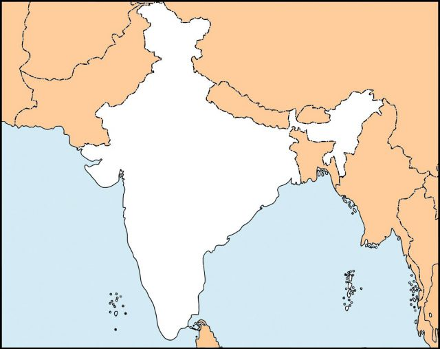Blank Physical Map Of India