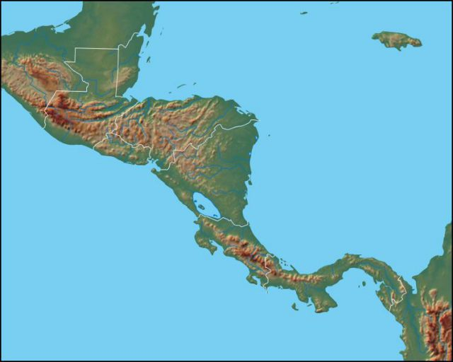 Central america physical map from geology 1