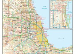 Chicago on a map from mapshop 3
