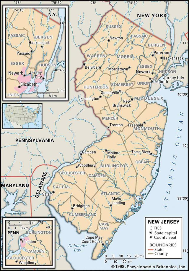 Colonial New Jersey Map