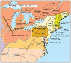 Colonial new york map from en 1