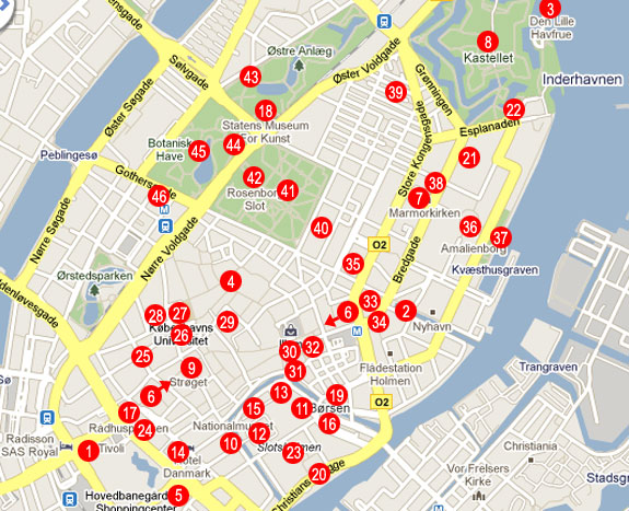 Copenhagen tourist map from danishnet 2