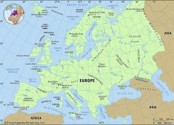 Europe Physical Features Map: Europe physical features map from britannica 1