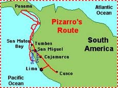 Francisco pizarro route map from pinterest 1