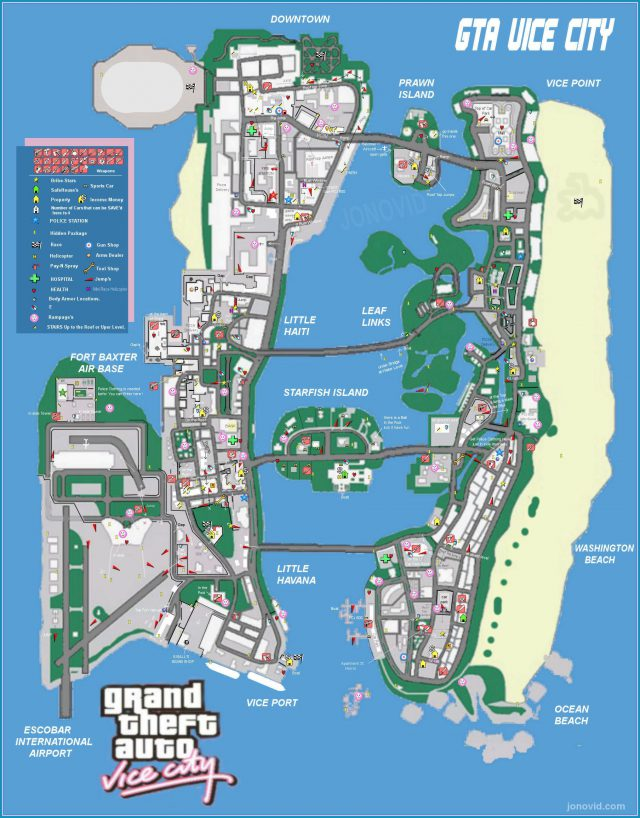 Gta vice city map from pinterest 1