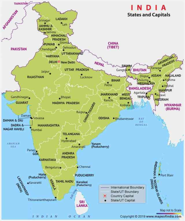 India map with states and capitals from mapsofindia 1