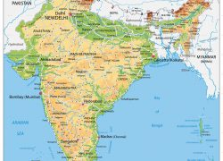India physical map from in 2