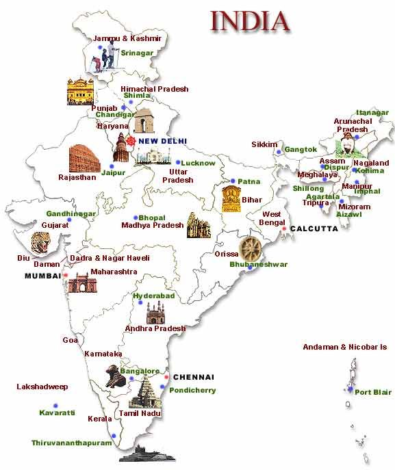 India tourist map from in 1