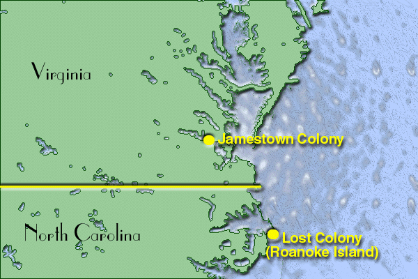 Jamestown colony map from en 1