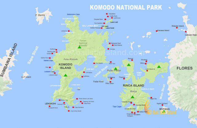 Komodo national park map from balistarisland 1