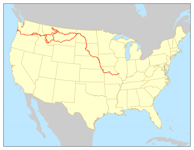 Lewis and clark trail map from en 1