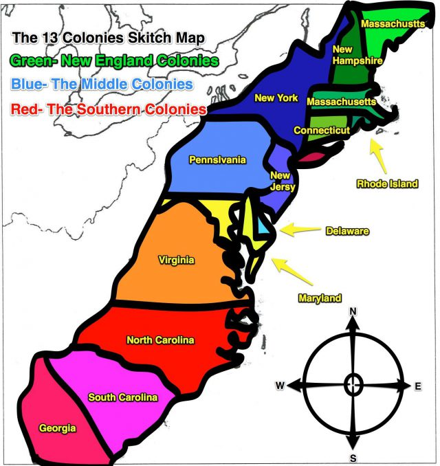 Map of the 13 colonies from pinterest 1