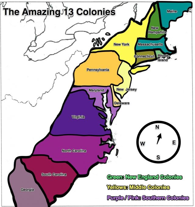 Map Of The 13 Colonies