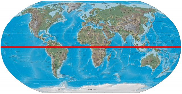 Map Of The World With Equator