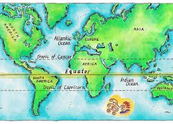 Map of the world with equator from photostore 9