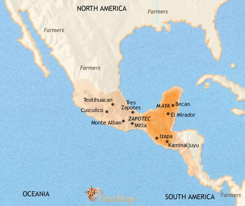 Mayan empire map from timemaps 1