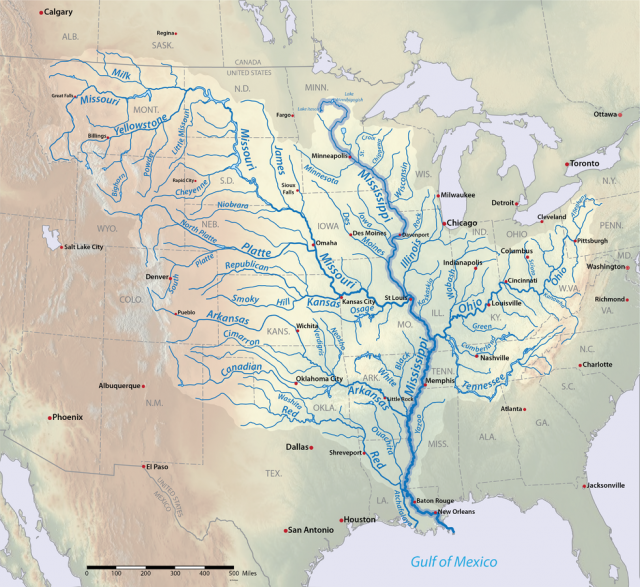 Missippi river map from americanrivers 1