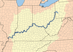 Ohio River Map: Ohio river map from en 1
