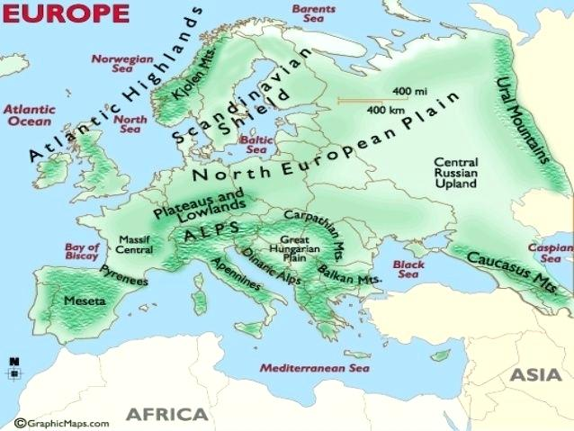Physical Features Map Of Europe